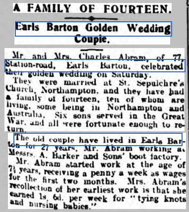 Golden wedding announcement: Northampton Chronicle and Echo, 24 March 1930