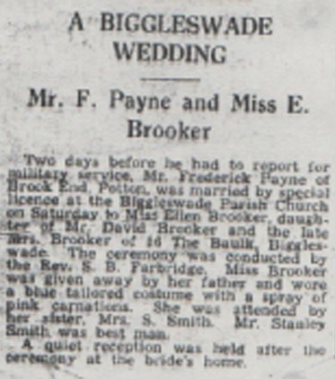Wedding announcement for Mr F Payne and Miss E Brooker.