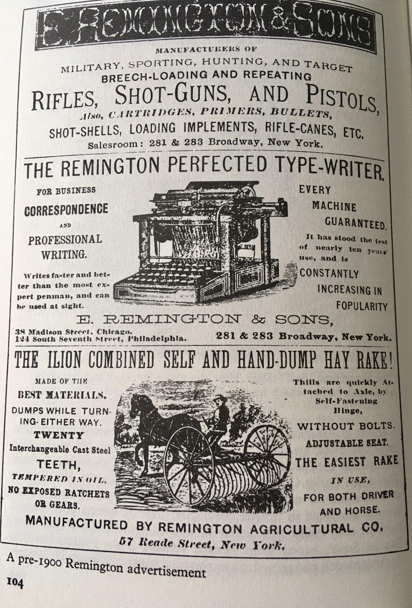 Remington typewriter advert.