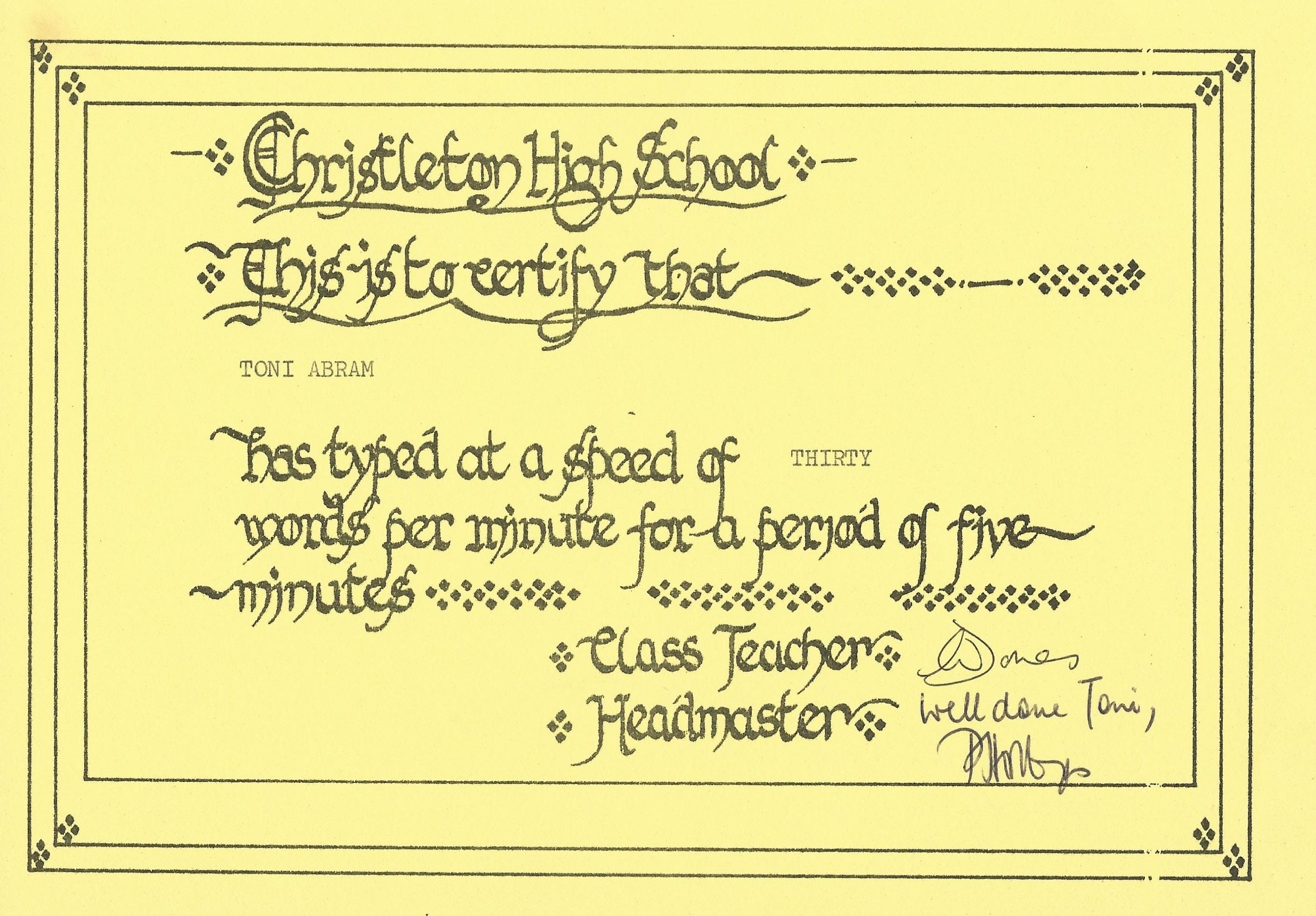 Speed test certificate.