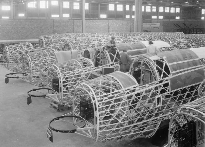 Wellingtons under construction, showing the geodetic airframe.