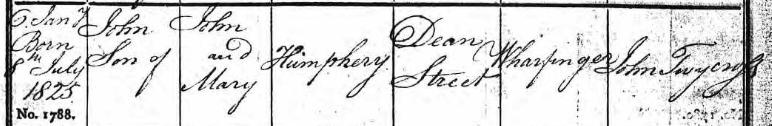 Baptism certificate of John Humphery.