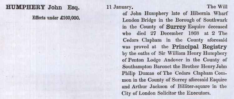Will of John Humphrey.